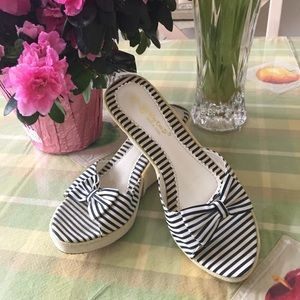 Beautiful Floral Embroidered Striped Wedge